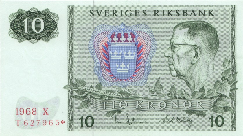 Sweden P52br REPLACEMENT 10 Kronor 1968 UNC