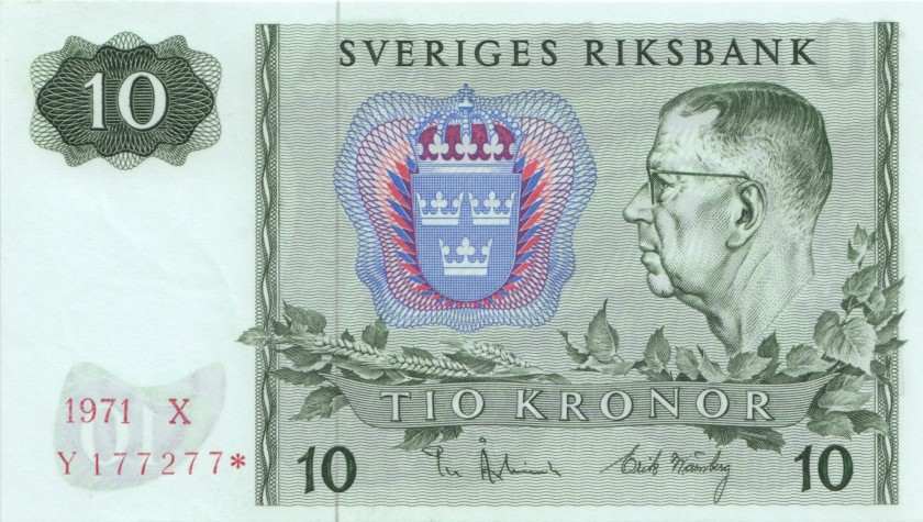 Sweden P52cr REPLACEMENT 10 Kronor 1971 UNC