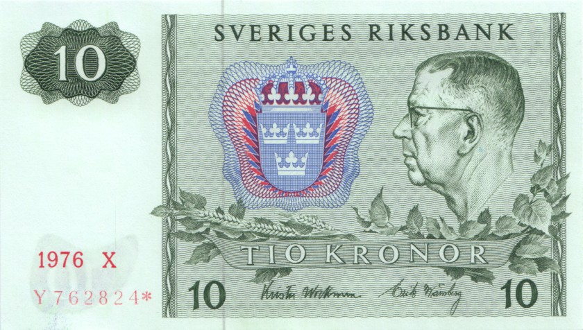 Sweden P52dr REPLACEMENT 10 Kronor 1976 UNC