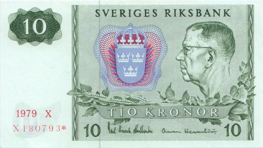 Sweden P52dr REPLACEMENT 10 Kronor 1979 UNC
