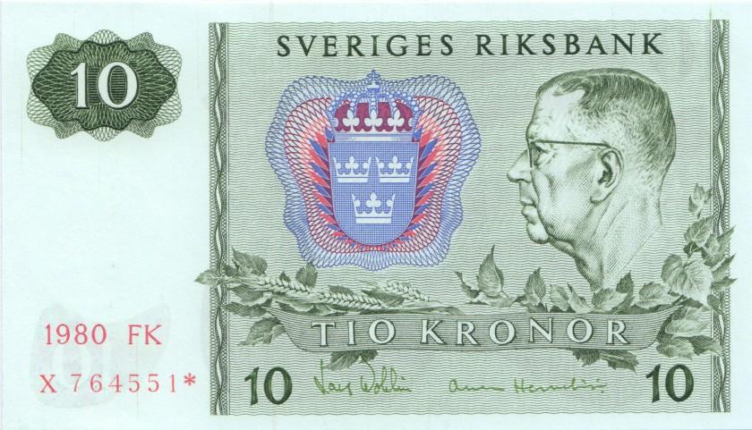Sweden P52er REPLACEMENT 10 Kronor 1980 UNC