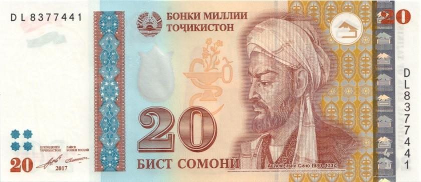 Tajikistan P25b 20 Somoni 2017 UNC