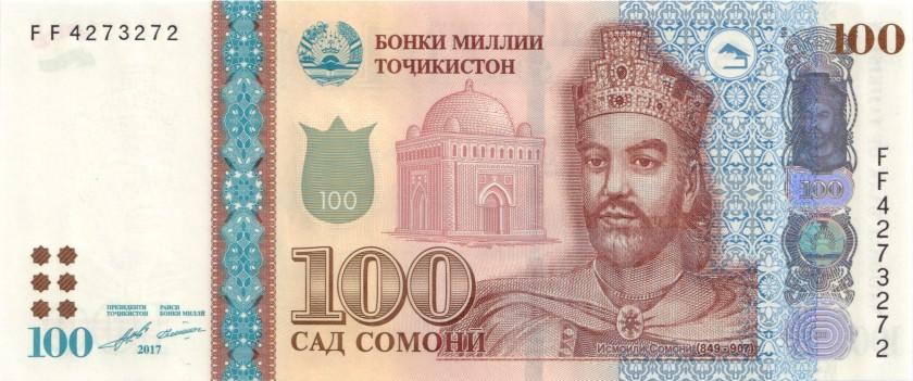 Tajikistan P27b 100 Somoni 2017 UNC