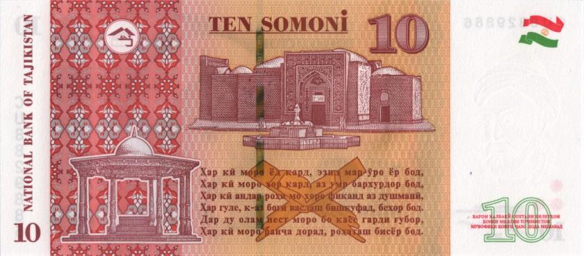 Tajikistan P-NEW 10 Somoni 2018 UNC