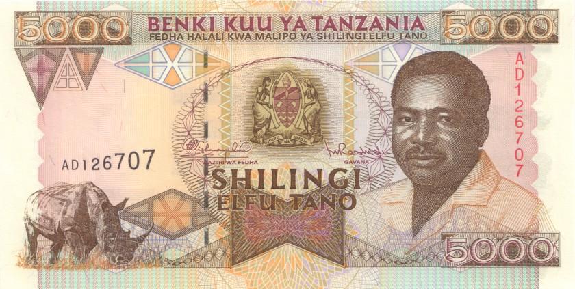 Tanzania P28 5.000 Shillings 1995 UNC