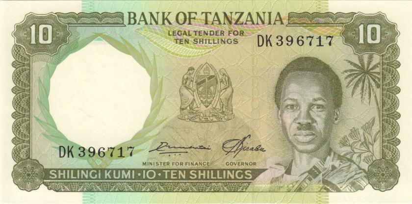 Tanzania P2e 10 Shillings 1966 UNC