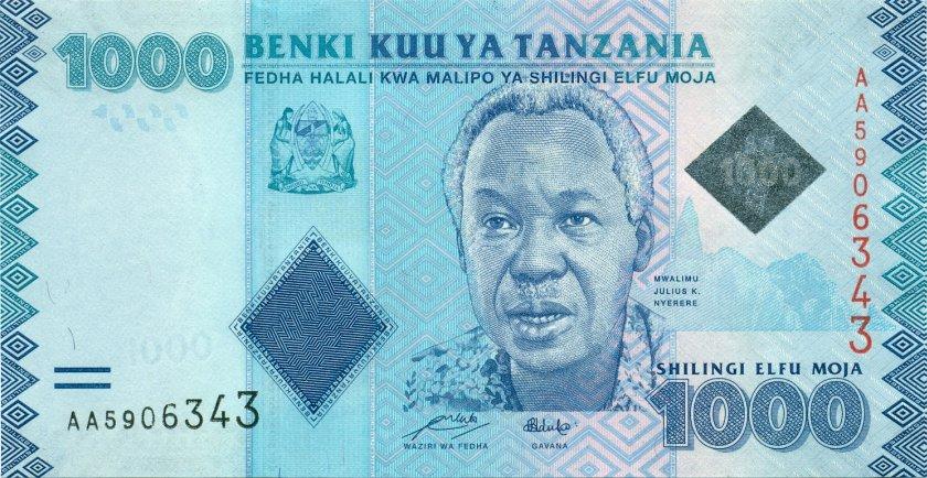 Tanzania P41a 1.000 Shillings 2010 UNC
