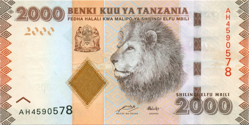 Tanzania P42a 2.000 Shillings 2010 UNC