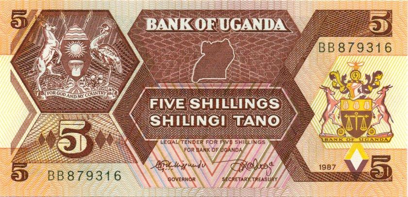 Uganda P27 5 Shillings 1987 UNC