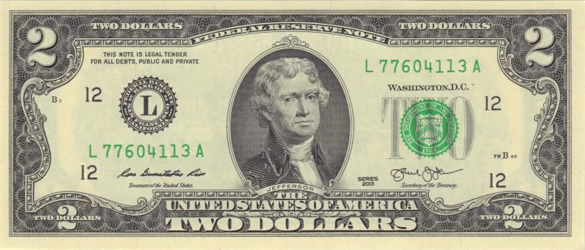 United States USA P538 2 Dollars San Francisco 2013 UNC