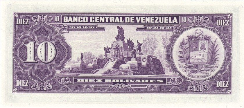 Venezuela P62 10 Bolívares 1988 UNC