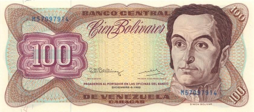 Venezuela P66e 100 Bolivares 1992 UNC