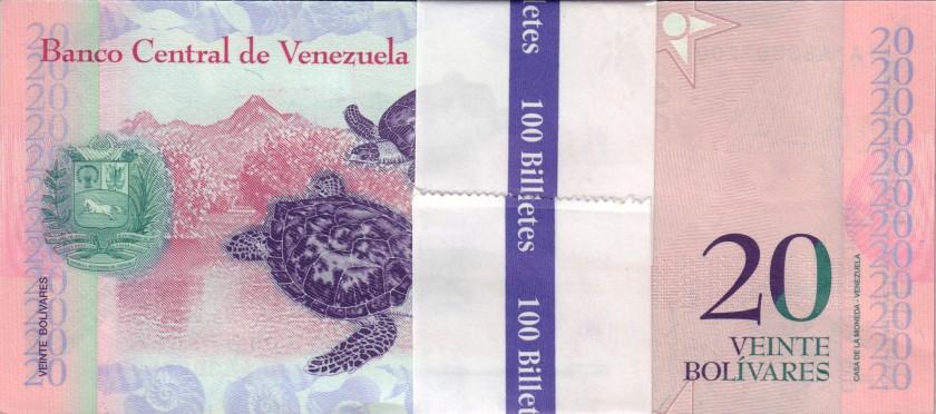 Venezuela P91g 20 Bolívares Bundle 100 pcs 2014 UNC