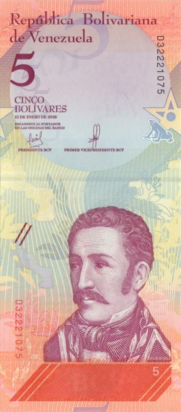 Venezuela P-NEW 5 Bolivares 2018 UNC