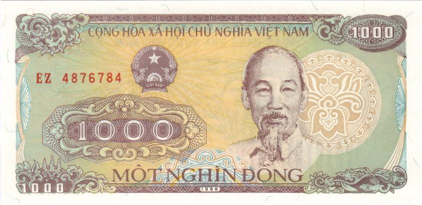 Vietnam P106a 4876784 RADAR 1.000 Dong 1988 UNC