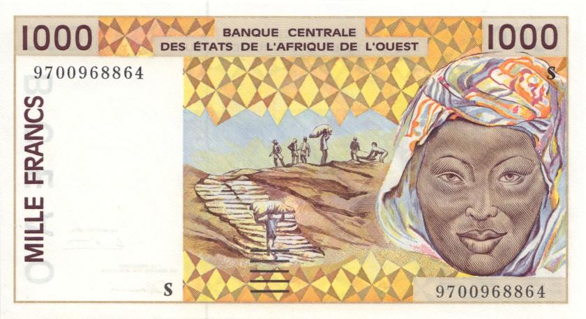West African States Guinea Bissau P911Sa 1.000 Francs 1997 UNC