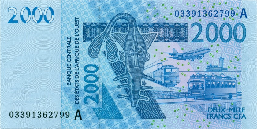 West African States Ivory Coast P116Aa 2.000 Francs 2003 UNC