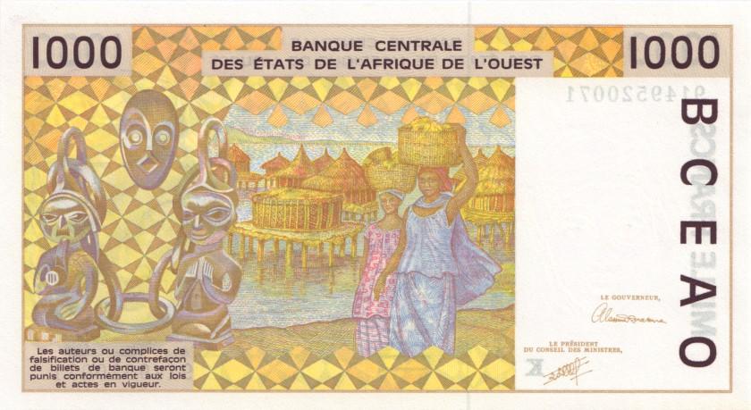 West African States Senegal P711Ka 1.000 Francs 1991 UNC