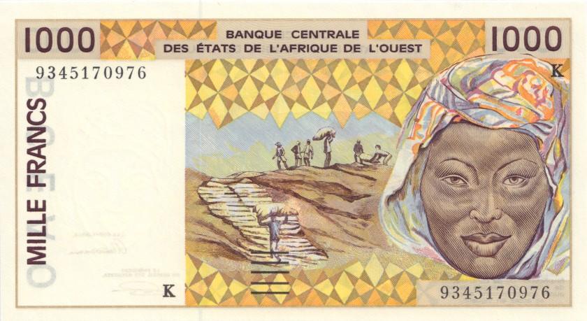 West African States Senegal P711Kc 1.000 Francs 1993 UNC