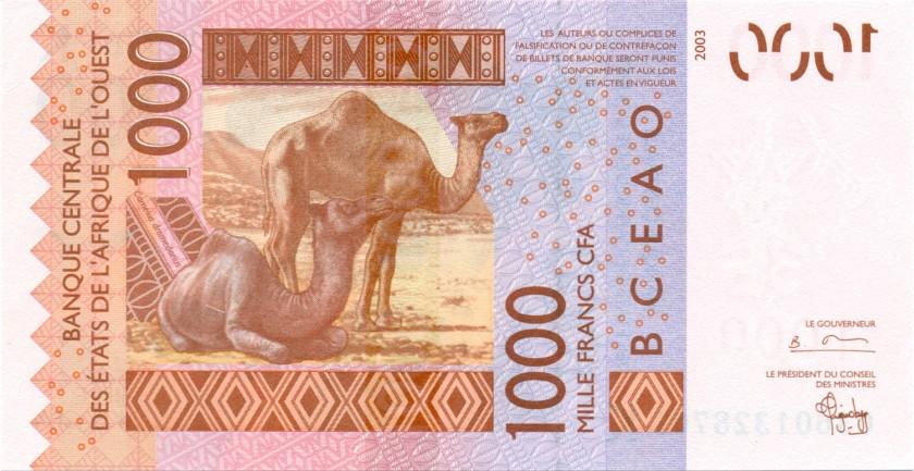 West African States Senegal P715Ka 1.000 Francs 2003 UNC