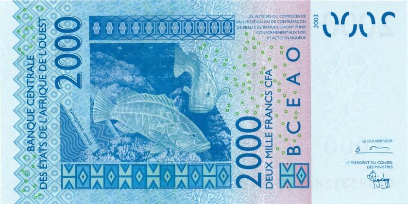 West African States Senegal P716Ka 2.000 Francs 2003 UNC