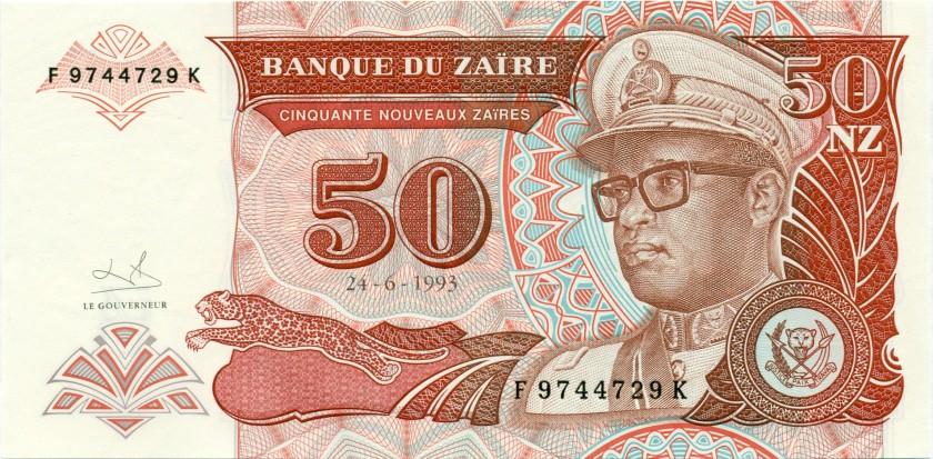 Zaire P57 50 New Zaïres 1993 UNC