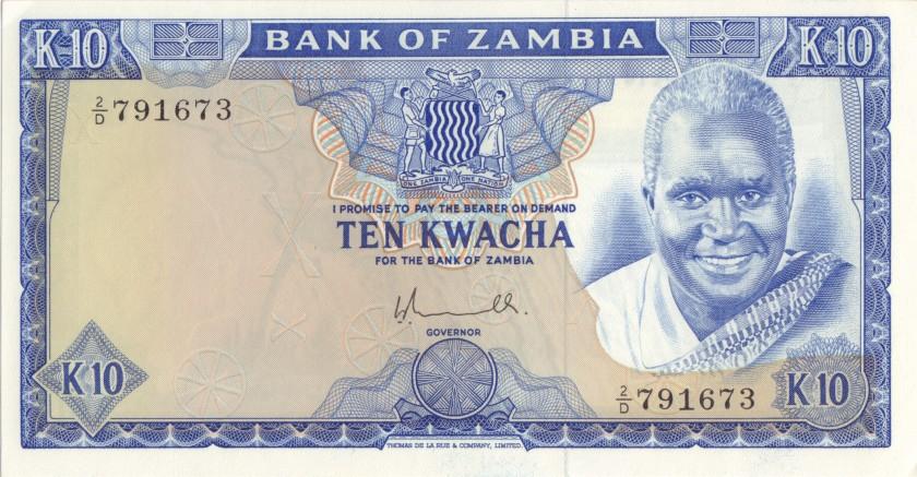 Zambia P22 10 Kwacha 1976 UNC-