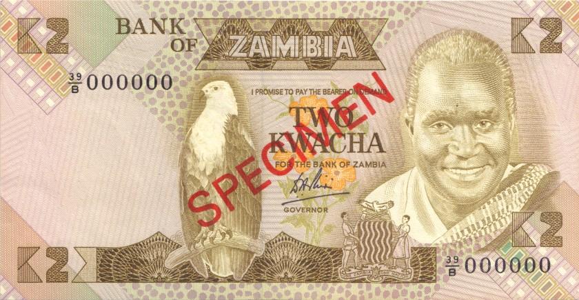 Zambia P24bs SPECIMEN 2 Kwacha 1980-1988 UNC-