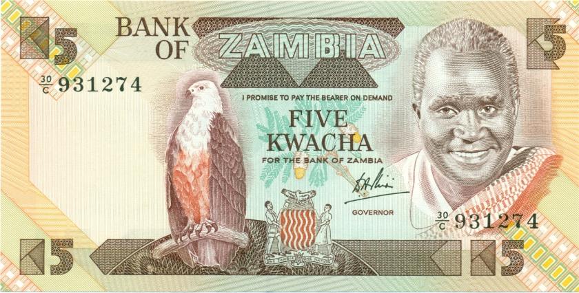 Zambia P25c 5 Kwacha 1980-1988 UNC
