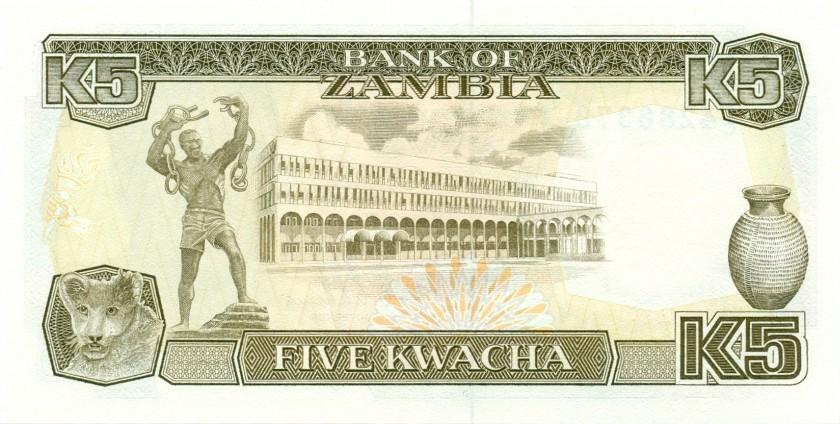 Zambia P30 5 Kwacha 1989 UNC