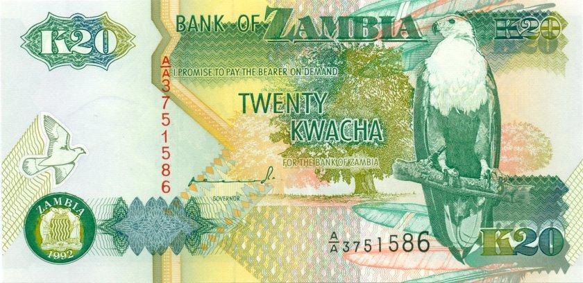 Zambia P36a 20 Kwacha 1992 UNC