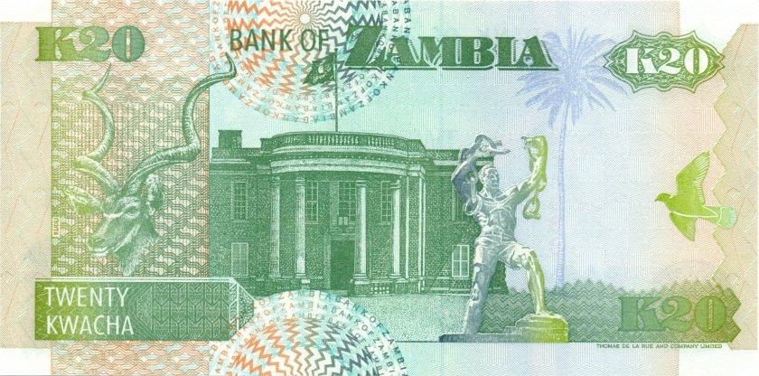 Zambia P36b 20 Kwacha 1992 UNC