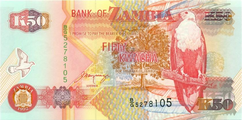 Zambia P37b 50 Kwacha 1992 UNC