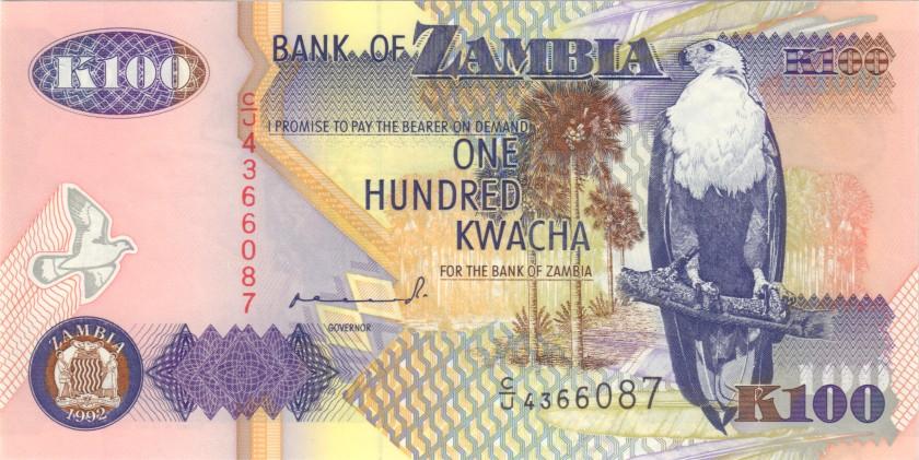 Zambia P38a 100 Kwacha 1992 UNC