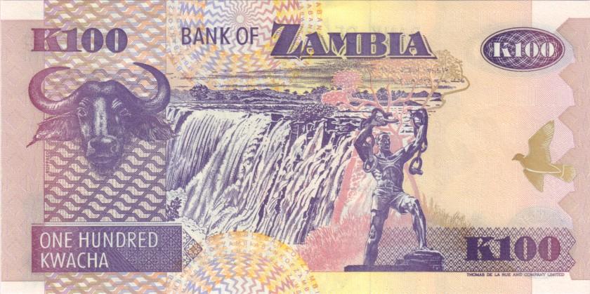 Zambia P38b 100 Kwacha 1992 UNC