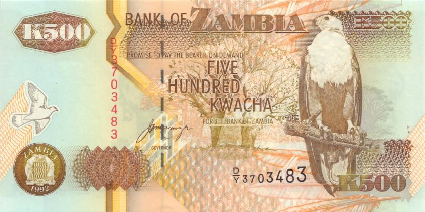 Zambia P39b 500 Kwacha 1992 UNC