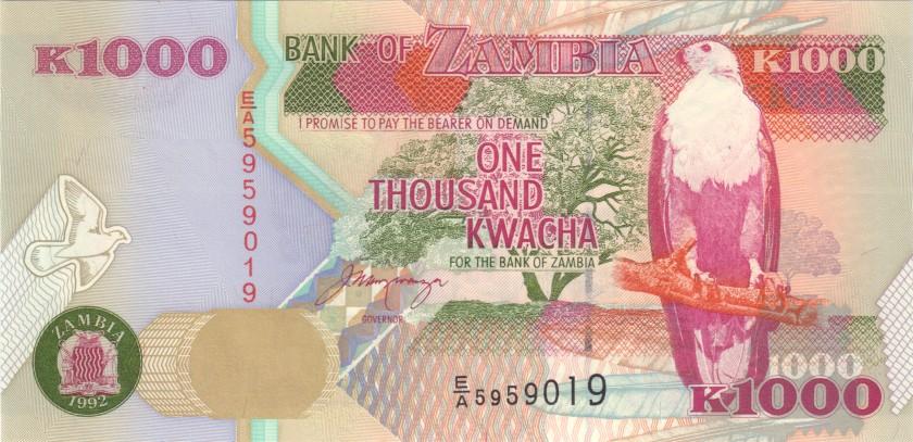 Zambia P40a 1.000 Kwacha 1992 UNC