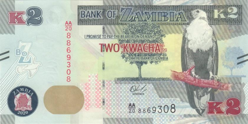 Zambia P56 2 Kwacha 2020 UNC
