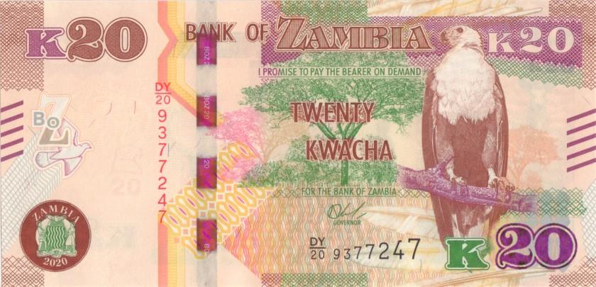 Zambia P59 20 Kwacha 2020 UNC