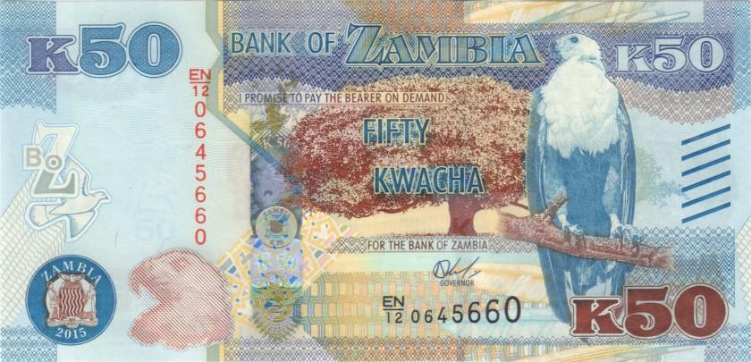 Zambia P60 50 Kwacha 2015 UNC