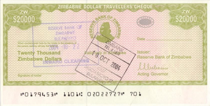 Zimbabwe P18 20.000 Dollars 2003 UNC