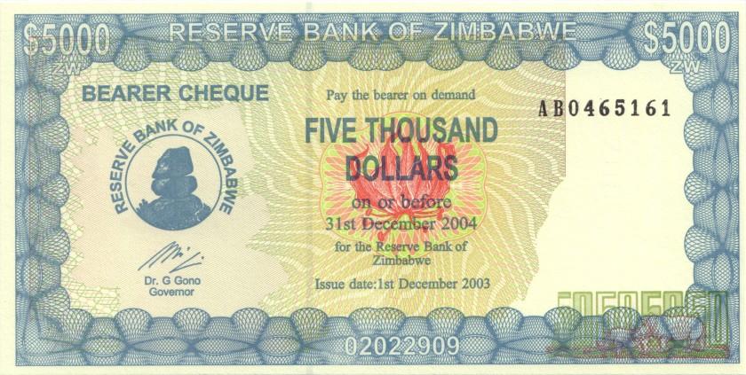 Zimbabwe P21d 5.000 Dollars 2003 UNC