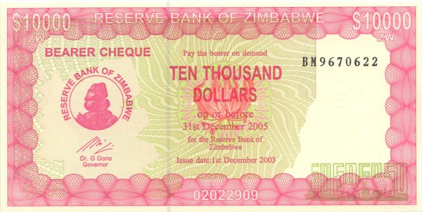 Zimbabwe P22e 10.000 Dollars 2003 UNC