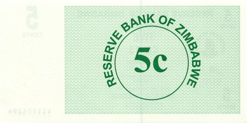 Zimbabwe P34 5 Cents 2006 UNC