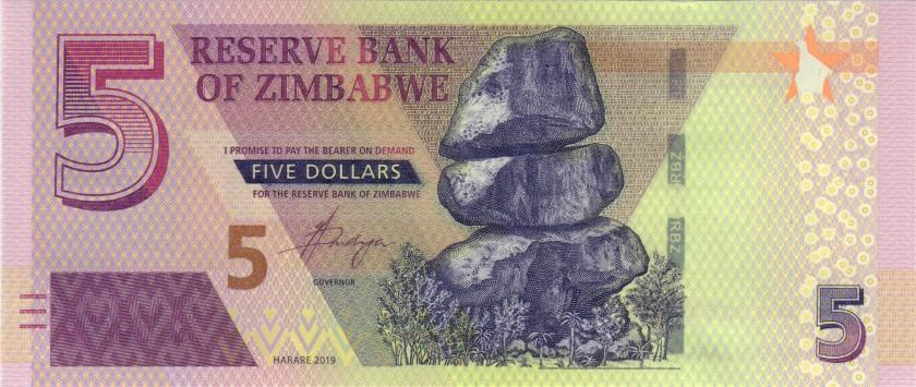 Zimbabwe P-NEW 5 Dollars 2019 UNC