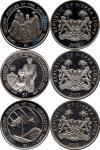 Sierra Leone 2002 - 2003 1 Dollar Golden Jubilee of Elizabeth II 3 coins UNC