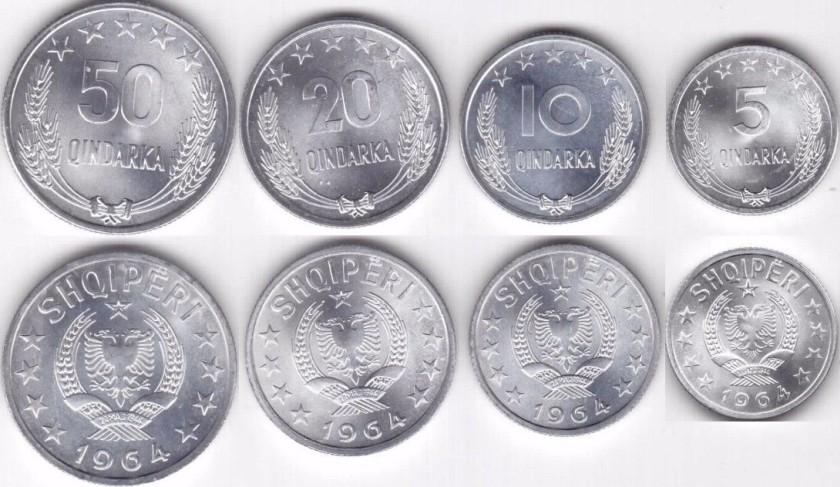 Albania 1964 KM# 39 - 42 5, 10, 20, 50 Qindarka 4 coins UNC