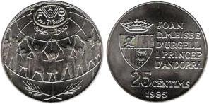Andorra 1995 KM# 109 25 centims FAO UNC