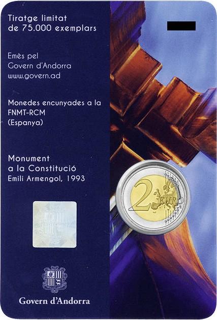 Andorra 2018 2 Euro 25th anniversary of the Andorran Constitution BU