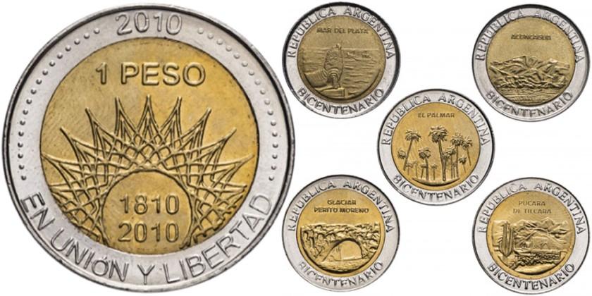 Argentina 2010 KM# 156 - 160 1 Peso 5 coins UNC